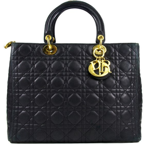 Pre-Owned Christian Dior Lady Dior Medium Tote in Black Lambskin ($870) ❤ liked on Polyvore featuring bags, handbags, tote bags, black, structured tote bag, black handbags, medium tote, black quilted handbag and black tote bag