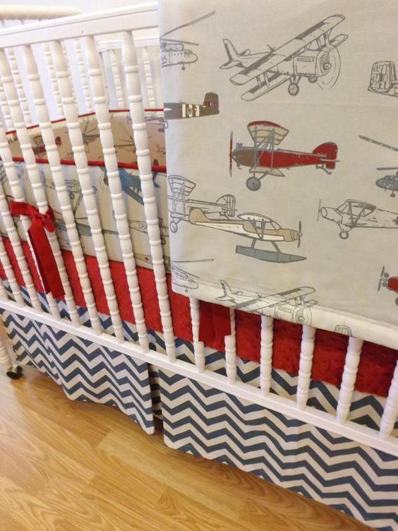 Baby Bedding-Made to Order-4 pc Vintage Airplane Crib Bedding Set via Etsy $389
