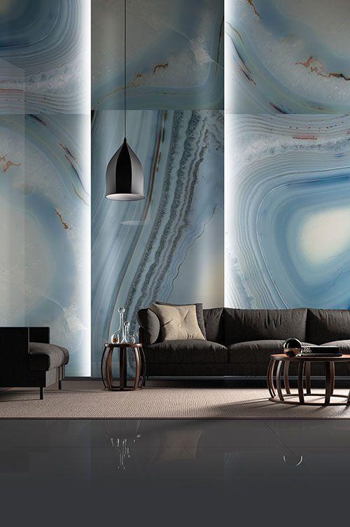 Porcelain wall tile- Agata Azzurra B by Fiandre