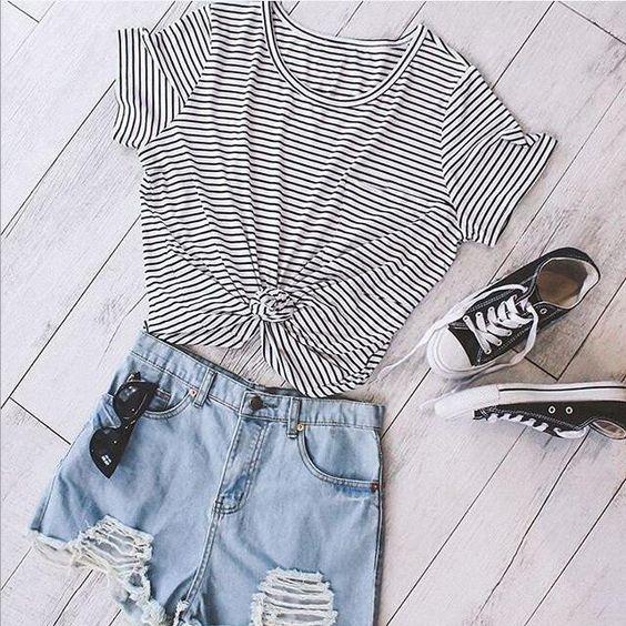 Striped Short Sleeve Round Neck T-Shirt