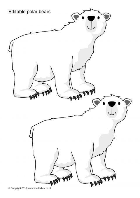 Editable Polar Bear Templates Sb9233 Sparklebox Bear Template Polar Bear Craft Polar Bear Art