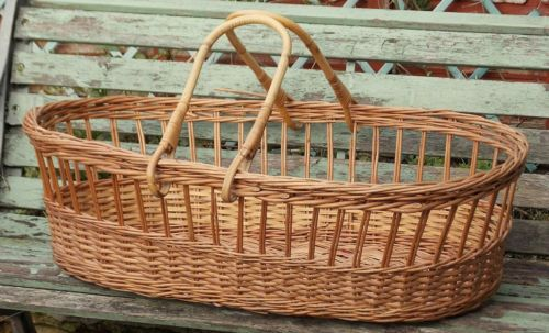Handmade Wicker Moses Basket : Vintage french handmade wicker moses basket cot crib