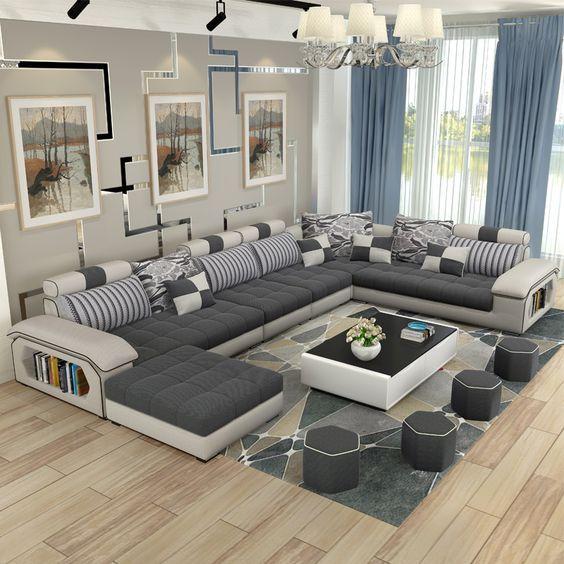 muebles de sala de estar de lujo moderno esquina tela sof seccional conjunto de sofs de