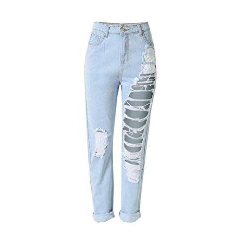 Pantalones De Mezclilla De Mujer Pantalones Cintura Alta Vaqueros Bastante De Sueltos Y Rotos Pantalone Pantalones De Mezclilla Pantalones De Moda Ropa Holgada