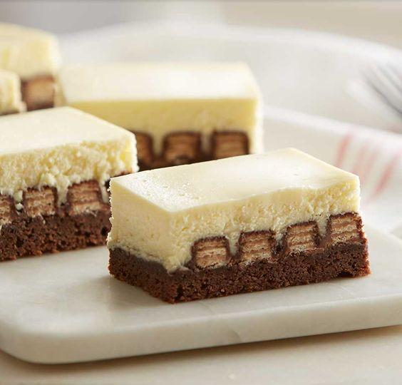 Brownie and Kit Kat Bottomed Cheesecake Bars