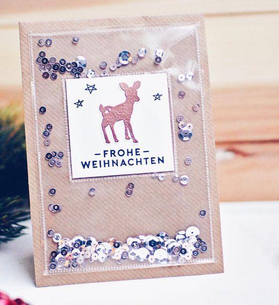 Team Mitglied @schnipseldesign teilt eine Inspiration mit meinem Weihnachts Set und für funkelnde Weihnachtskarten mit Reh jetzt aufm #papierprojekt Blog.