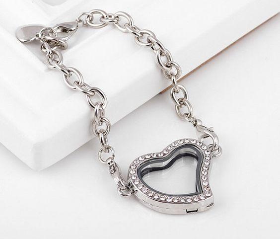 Heart Floating Locket Bracelet Kits - Silver Floating Charm Heart Locket Bracelet, Glass Lockets, Locket Bracelet, Memory Locket by AlnSupplies on Etsy https://www.etsy.com/listing/237710389/heart-floating-locket-bracelet-kits