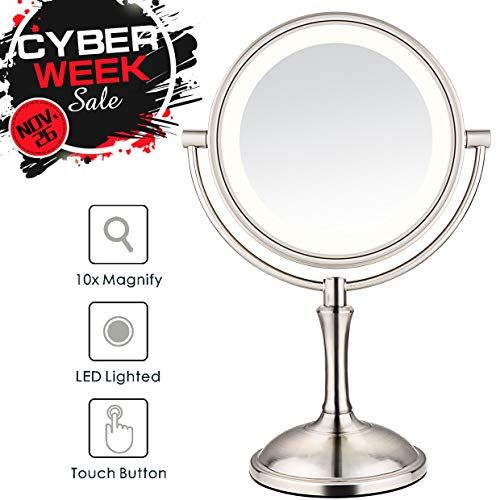 Amnoamno Led Makeup Mirror 10x Magnifying 7 8 Double Sided Lighted Vanity Makeup Mirror With Stand Touch Button Adjustable Light Usb Ac Adapter Or Battery Ope Makeup Mirror Led Makeup Mirror Makeup Mirror With Lights