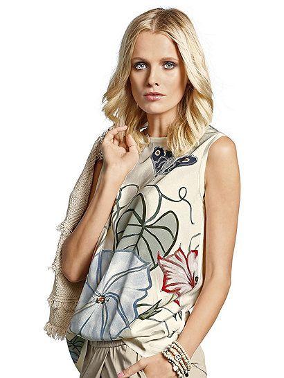Top von NICE CONNECTION mit attraktivem Blumendruck aus edler Seide