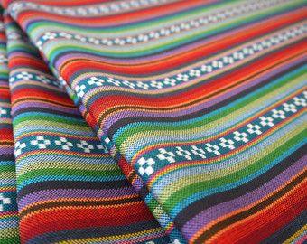 South American Fabric, Peruvian Fabric, Woven, Teal Pampa Stripes, 1 Yard