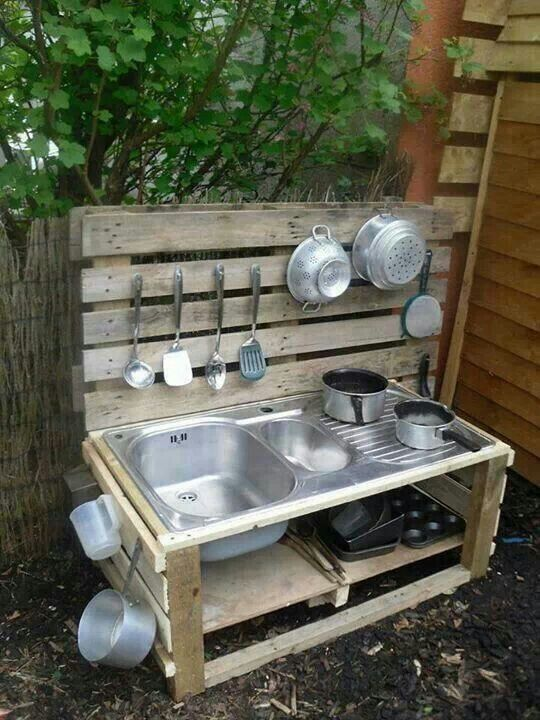 mud kitchen, recycle the sink from the rv and turn it into a