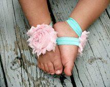 Baby Barefoot Sandals..Light Pink Flowers on Aqua Elastic..Toddler Sandals..Newborn Sandals .. Baby Flower Sandals
