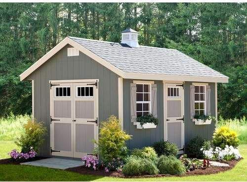 Riverside 10 Ft W X 14 Ft D Wooden Storage Shed With Images Outdoor Garden Sheds Wooden Storage Sheds