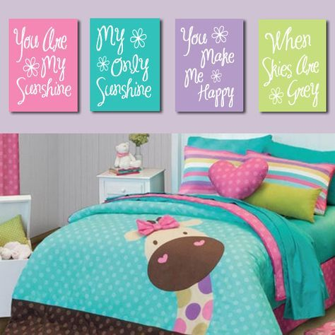 You Are My Sunshine Wall Art Canvas Pink Purple Lime Turquoise Typography Quote Crib Nursery Song Print Set Of 4 Pr Room Cute Bedroom Ideas Girl
