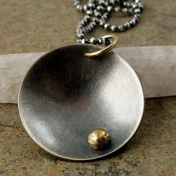 Black silver necklace, solid 14k gold. Contemporary necklace, mixed metal sterling silver & gold jewelry. Modern metalwork jewelry. $88.00, via Etsy.