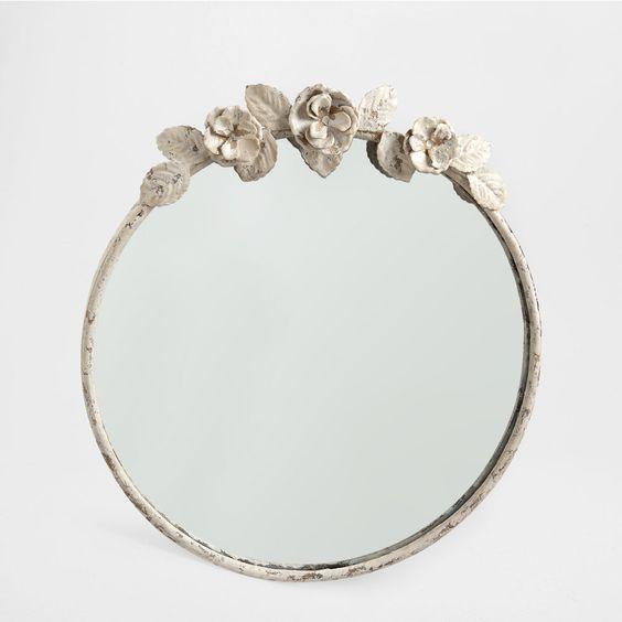 Round metal flowers mirror home dreams pinterest for Mirror zara home