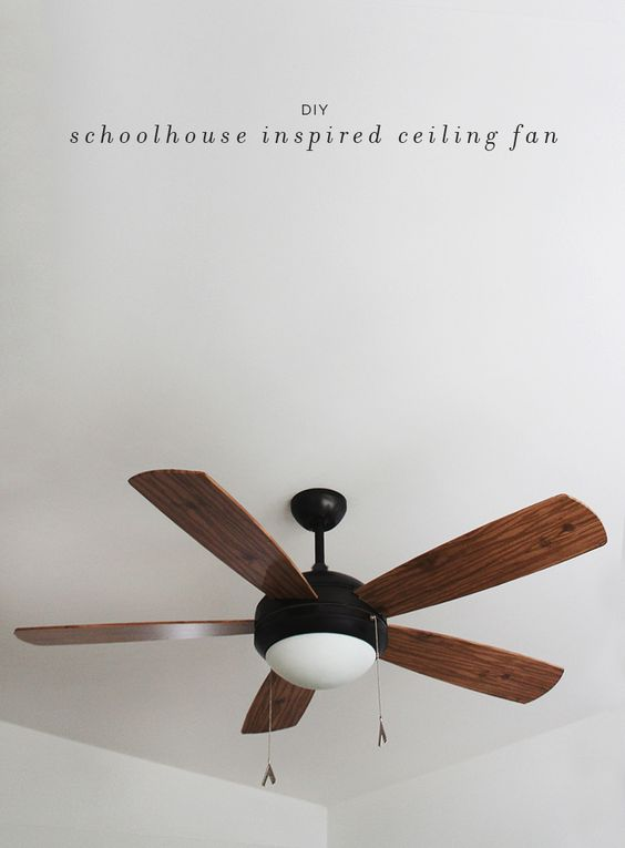 Paper Ceiling Fan : Diy schoolhouse ceiling fan sprays contact paper and