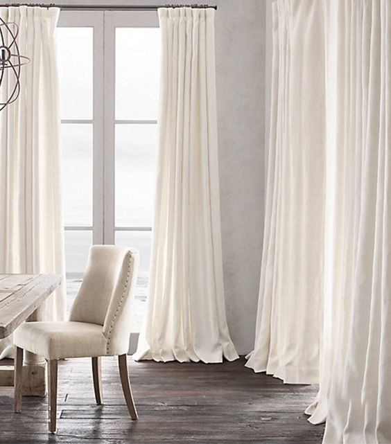 Love the white curtains and hardware on pinterest for Restoration hardware window shades