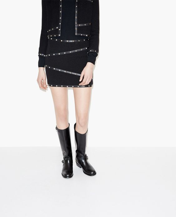 Hopsack wool skirt with studded leather details - Leather - The Kooples