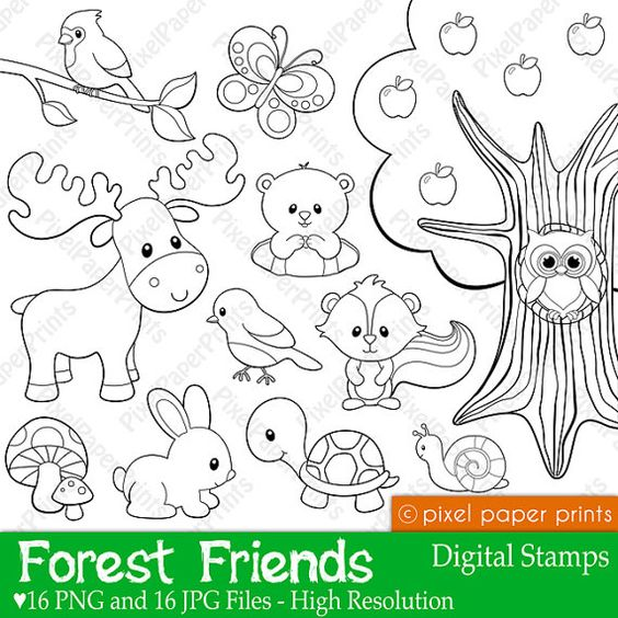Forest Friends - Digital stamps | Digital stamps, Stamps and High ...