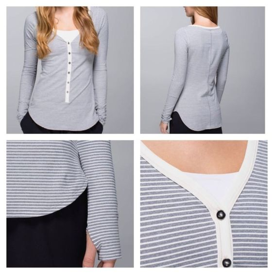 Lululemon long sleeve shirt, size 4, gray striped Awesoma Henly. It kills me to get rid of this but I'm just too short (5'2'') it's just a touch too long on me. It's made of rulu which is the softest and cozier fabric! The cut is SO flattering. No trades. lululemon athletica Tops Tees - Long Sleeve
