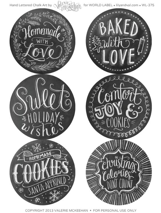 Free Printable Hand Drawn Holiday Food Gift Chalkboard labels designed by @Valerie (Henderson) McKeehan Labels are first hand drawn and then photographed.
