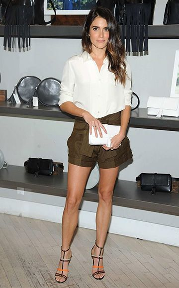 Nikki Reed at the launch of her vegan bag line with Freedom Of Animals at Bloomingdale's Soho on October 10, 2015 in New York City, wearing an IRO Bonnie Ecru Button-down Blouse http://bit.ly/1MHsOCm, a Nikki Reed X Freedom of Animals Sohalia Belt Bag http://bit.ly/1OzRMtZ , IRO Kris Khaki Shorts http://bit.ly/1WMMxpS and shoes: (buy similar) http://bit.ly/1NZPrFC. #style #celebstyle