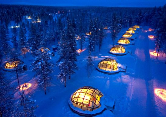 "Hotel Kakslauttanen in Finland is made up of 12 ""igloos"" in addition to traditional wood cabins.  The winter interior temps in the igloos ranges from 21 to 27 degrees fahrenheit, but unrestricted views of the aurora borealis make it worth donning wool socks and sleeping in sleeping bags."