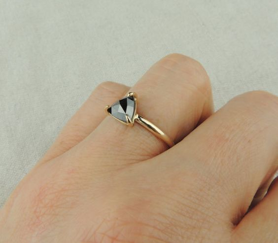 Black Triangle Diamond Engagement Ring by PointNoPointStudio