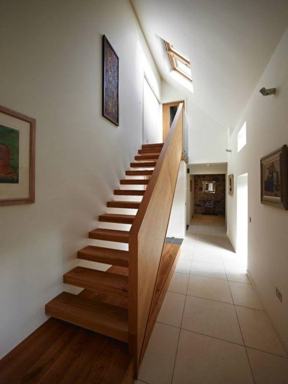 haus umbauen schwebende holz treppe holzgeländer new project - exklusives treppen design