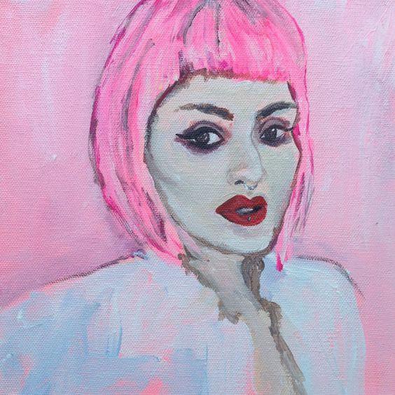 No. 4 Lora_Arellano Original Small Acrylic by AHolmesArtStudio