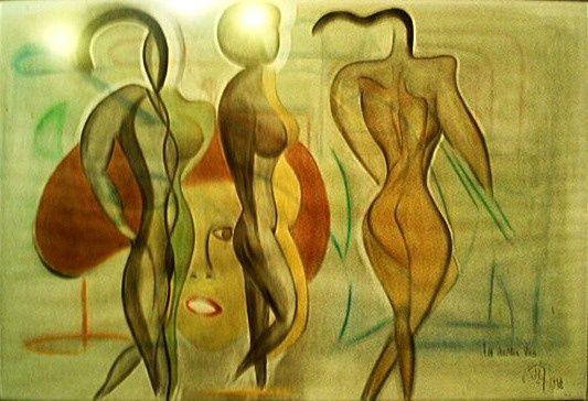 LES DOUBLES VIES - Painting,  65x125 cm ©1992 par Jean Luc Masini -  Peinture