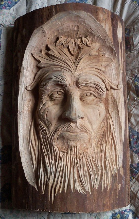 Face coming out of the wood my father in law carved this