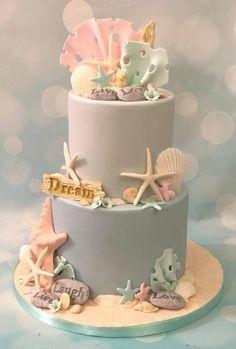 Astonishing Inspirational Beach Themed Birthday Cake With Starfish And Shells Personalised Birthday Cards Akebfashionlily Jamesorg