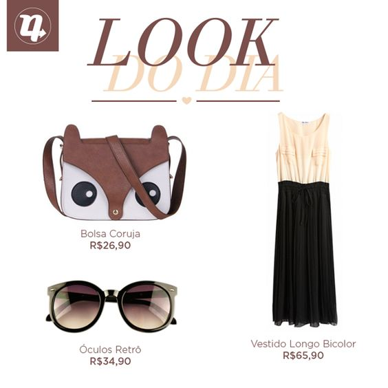 Sem inspiração pro look? Problema resolvido!! Óculos >> http://nrdle.us/1myTn4H Vestido >> http://nrdle.us/1lsguNW Bolsa >> http://nrdle.us/1myTr4m