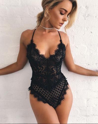 Ella Lingerie Lace Bodysuit (Black)