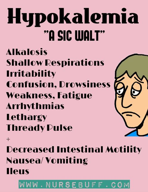 Hypokalemia  Hypokalemia is a condition where there is an abnormally low level of potassium in the blood.  Symptoms include alkalosis, shallow respirations, irritability, confusion, drowsiness, weakness, fatigue arrhythmias, lethargy, thread pulse and decreased intestinal motility.  Changes in ECG may also be observed where there will be abnormality in QRS segment.