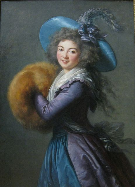 """Madame Mole-Reymond Elisabeth-Louise Vigee-Le Brun, 1786-""""The Lady with the Muff"""", the famous portrait of Madame Molé-Raymond, the pretty actress of the Comédie Française, is considered to be one of the masterpieces of Marie Louise Élisabeth Vigée Le Brun (1755 – 1842). Vigée Le Brun was a French painter, and is recognized as the most famous female painter of the 18th century. She served as a portrait painter to the French Queen Marie-Antoinette.:"""