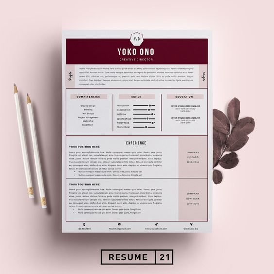 Creative Director Resume Template/CV by Resume21 on @creativemarket