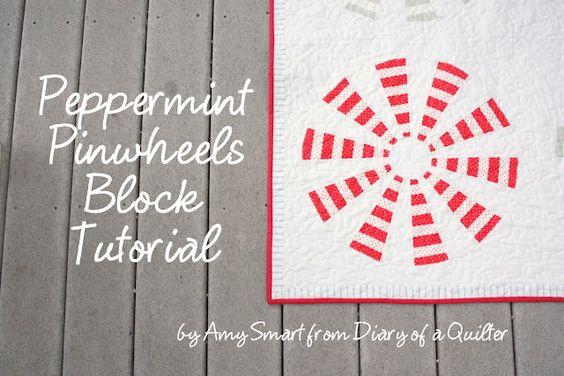 Diary of a Quilter: 'Peppermint Pinwheel' Dresden block tutorial
