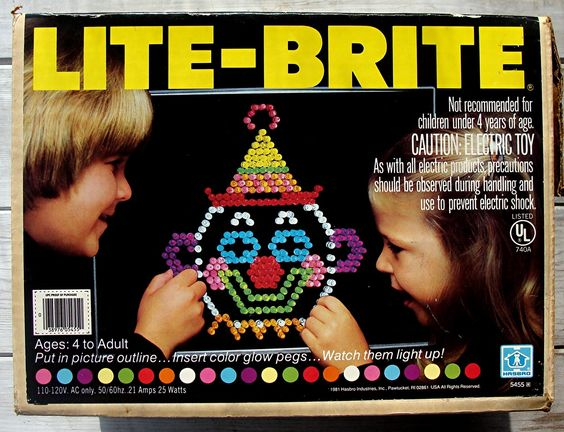 Lite-Brite: A black piece of construction paper and a hundred colored pegs...hours of fun