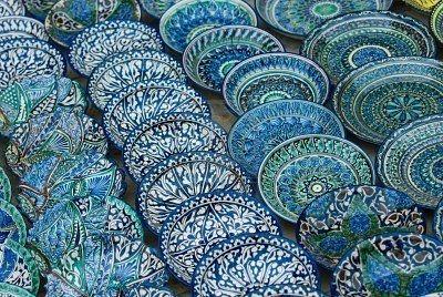 Uzbek blue ceramic plates