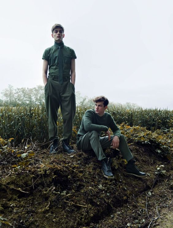 Pawel Bednarek & Theo Hall in Dior Homme Fall/Winter 2012 for Essential Homme #fashion #menswear #green