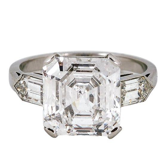 4 76 Carat Asscher Cut Diamond Platinum Ring