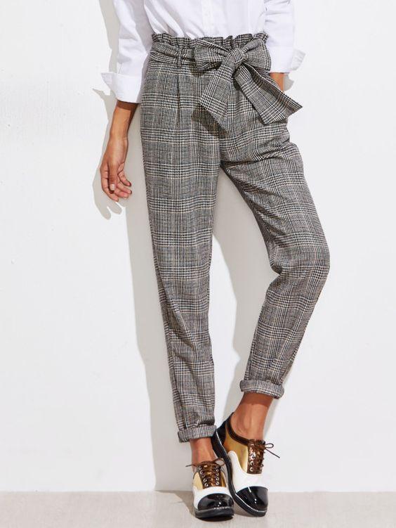 Frill Belted Waist Gingham Pants -SheIn(Sheinside)