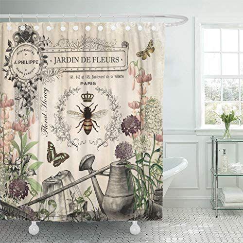 Semtomn Modern French Bee Garden Queen Floral Watering Can Vintage Shower Curtain In 2020 Vintage Shower Curtains Floral Shower Curtains Bathroom Curtain Set