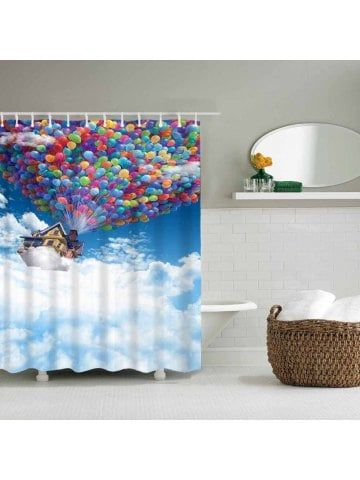 Balloon House Fly To Heaven Bathroom Waterproof Polyester Shower