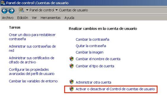 Control de cuentas de usuario de Windows