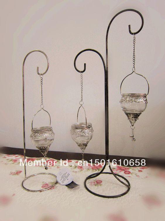Europea estilo adornos de jard n candelabro de vidrio for Faroles en hierro forjado para jardin
