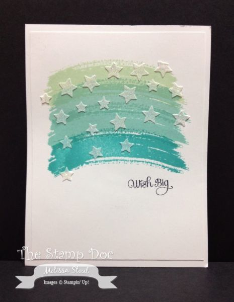 Stampin' Up! ... handmade card ... ombre panel created with stamped watercolor swashes ... embossing paste stars on top ... great one-layer card!